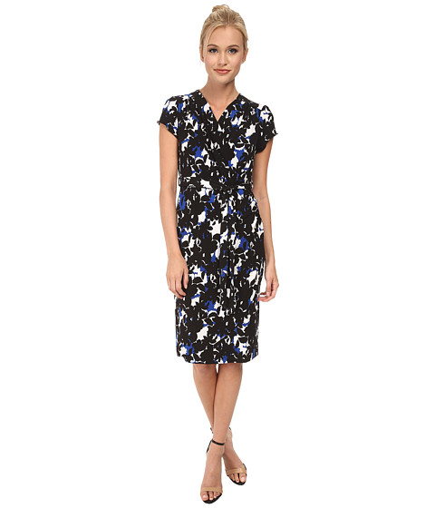 Yumi - Camouflage Foliage Print Wrap Dress (Blue) Women