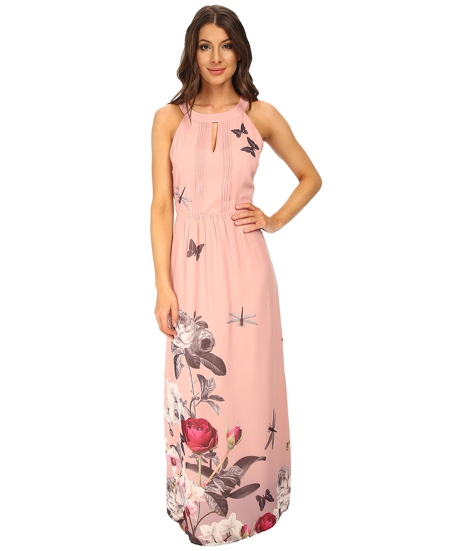 Yumi - Orchid Jardin Print Halter Neck Maxi Dress (Pink) Women's Dress