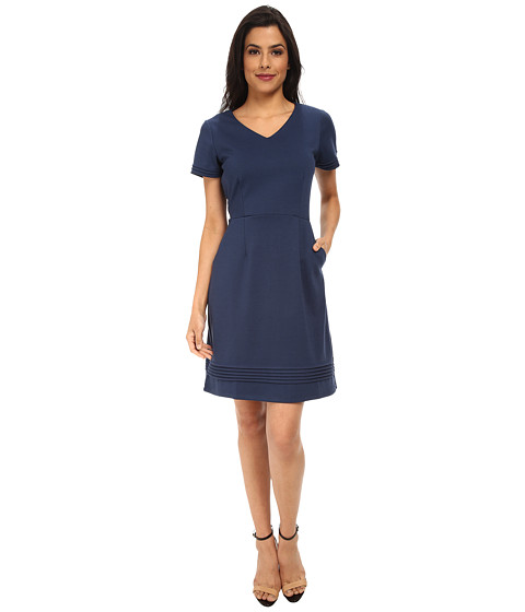 Yumi - Ponte Dress w/ Pin Tuck Detailing (Blue) Women's Dress