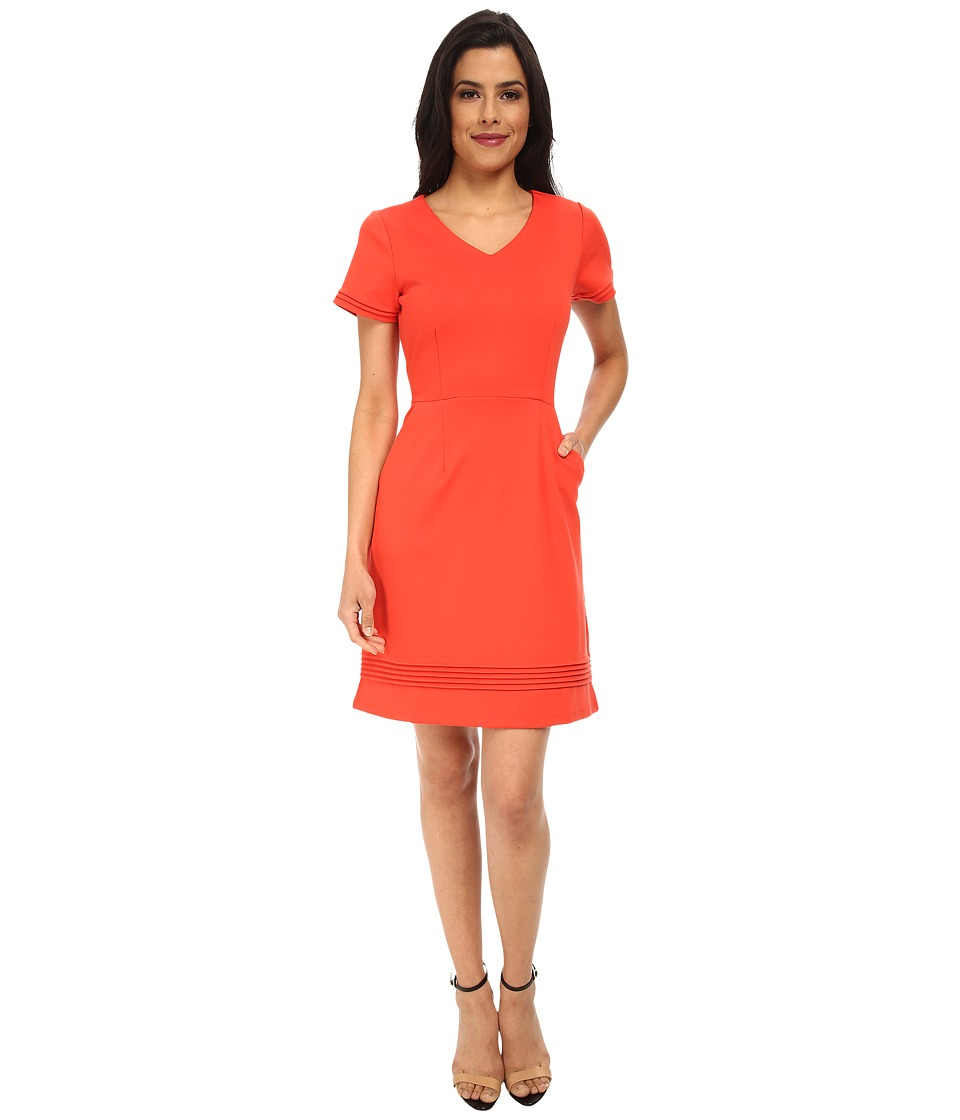 Yumi - Ponte Dress w/ Pin Tuck Detailing (Coral) Women's Dress