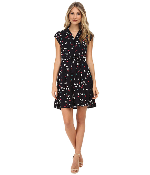 Yumi - Trip Lapin Print Shirt Dress w/ Tie Belt (Black) Women