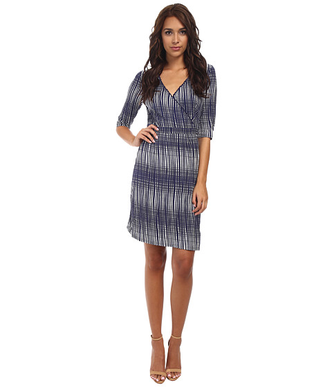Yumi - Grid Print Wrap Dress w/ Scallop Trim (Navy) Women