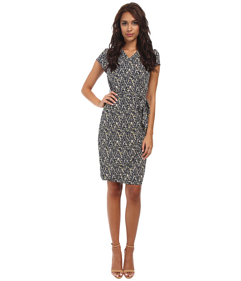 Yumi - Pollock Wrap Dress (Navy) Women's Dress