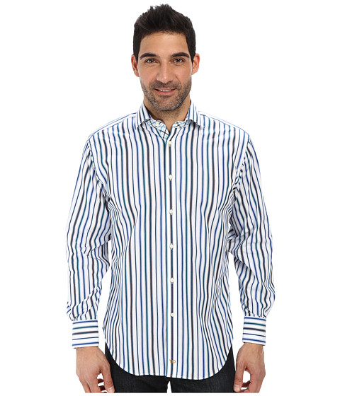 Thomas Dean & Co. - L/S Woven Multi Stripe (Blue) Men's Long Sleeve Button Up
