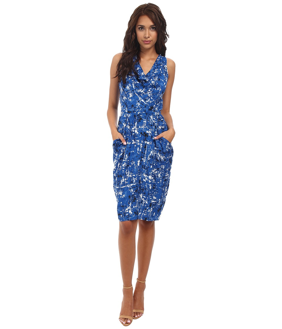Yumi - Koons Print Cowl Neck Dress (Blue) Women