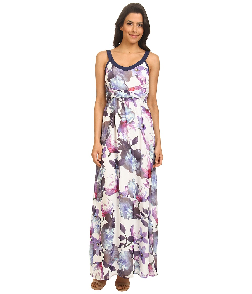 Yumi - Cherry Blossom Print Maxi Dress w/ Pleated Waist Detailing (Blue) Women