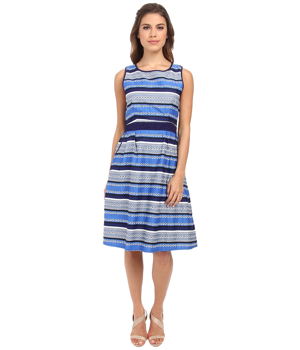 Yumi - Stripey Daisy Dress w/ Contrast Broderie (Navy) Women's Dress