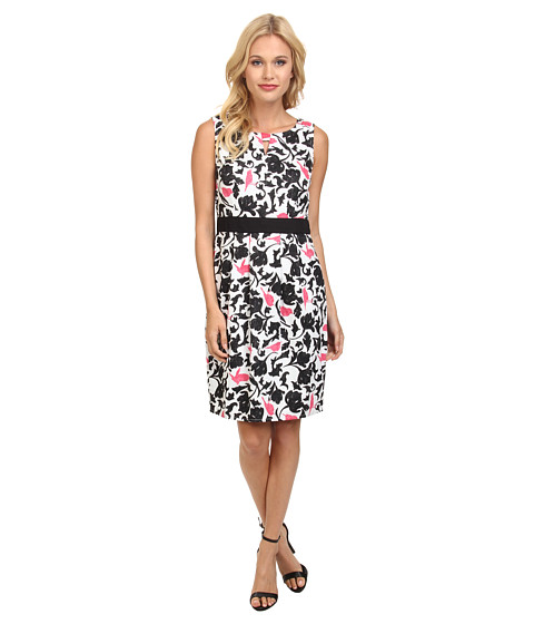 Yumi - Tropical Bird Camouflage Print Dress w/ Contrast Waistband (Black) Women