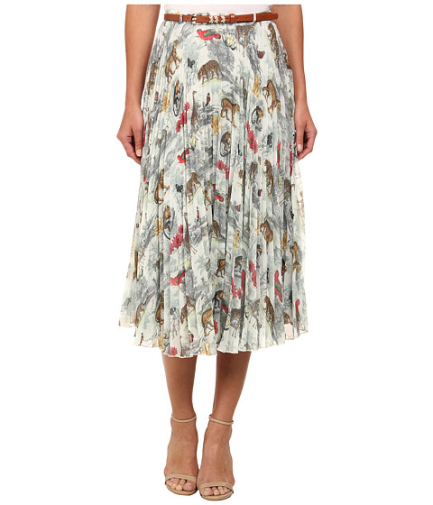 Yumi - Noah's Safari Print Pleated Midi Skirt w/ Pleated Midi Skirt and Belt (Cream) Women's Skirt