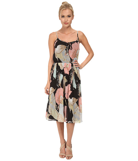 Yumi - Sleeveless Statement Floral Print Midi Length Dress w/ Elastic (Multi-Colour) Women's Dress