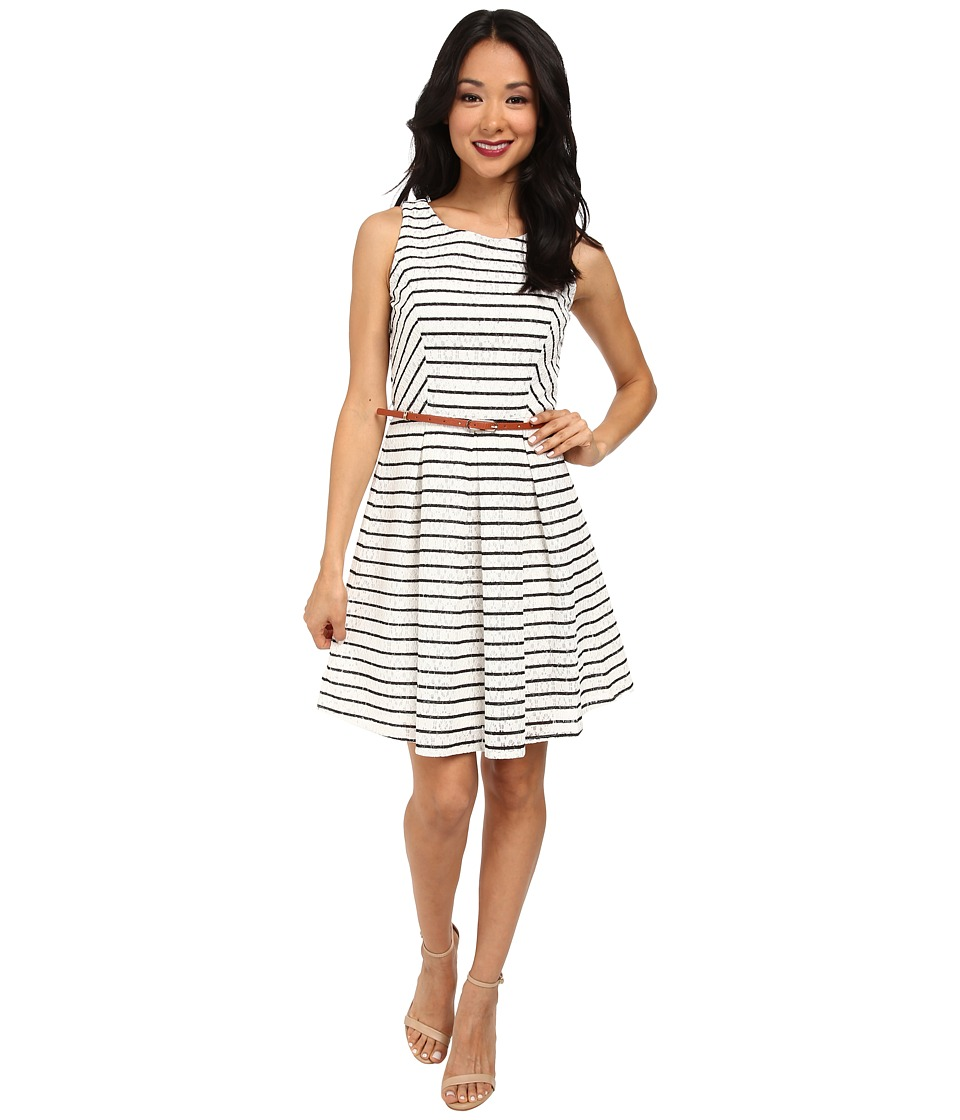 Yumi - Striped Skater Dress w/ Contrast Belt (White) Women