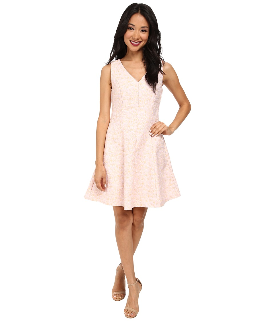 Yumi - S V-Neck Daisy Jacquard Dress (Pink) Women's Dress