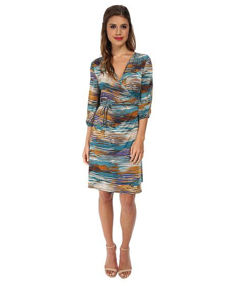 Christin Michaels - Rachel 3/4 Sleeve Wrap Dress (Blue Multi) Women
