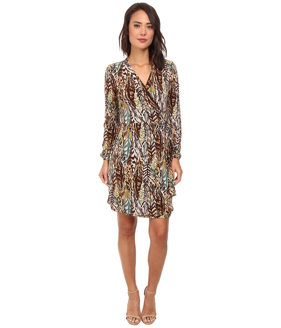 Christin Michaels - Jillian Wrap Dress (Brown) Women's Dress