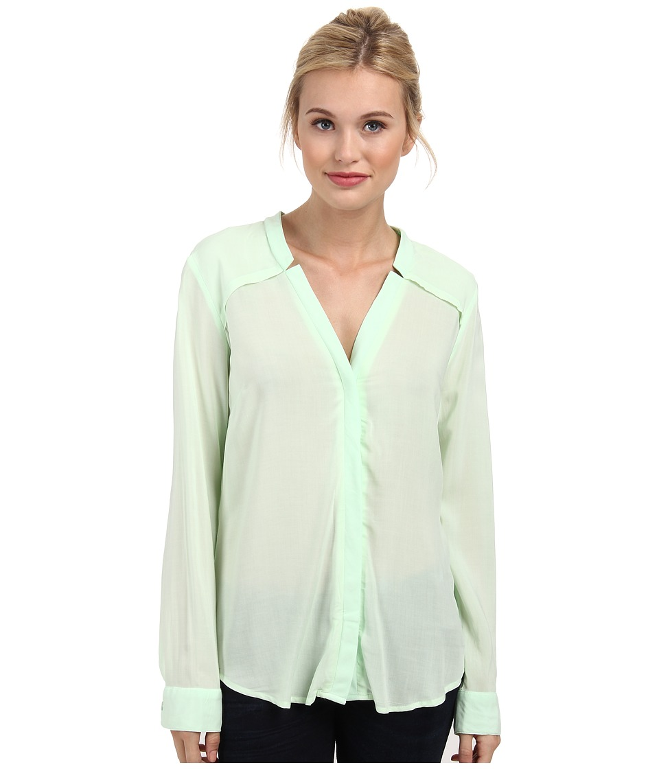 Splendid - Rayon and Rib Long Sleeve Shirt (Pistachio) Women's Long Sleeve Button Up