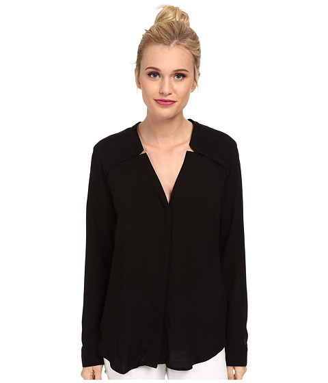 Splendid - Rayon and Rib Long Sleeve Shirt (Black) Women's Long Sleeve Button Up