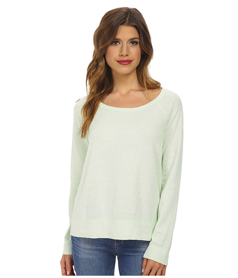 Splendid - Reversible Mini Stripe Active Pullover (Pistachio) Women's Long Sleeve Pullover