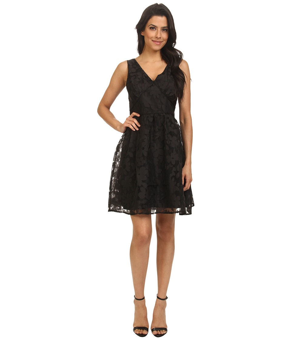 Yumi - Floral Burn Out Chiffon Fit And Flare Dress (Black) Women's Dress