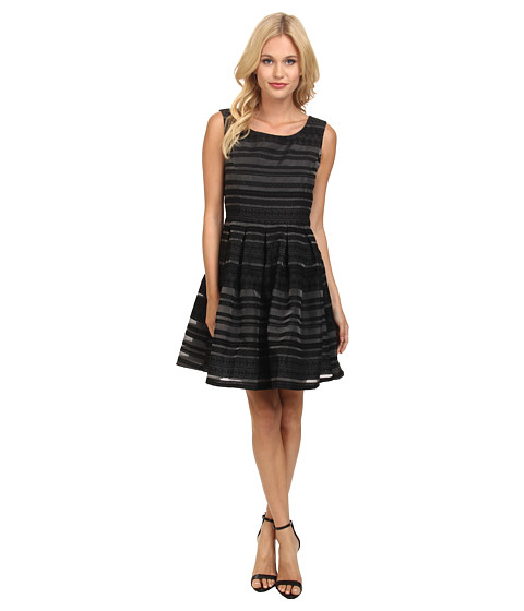 Yumi - Fit Flare Organza Lace Stripey Dress (Black) Women's Dress
