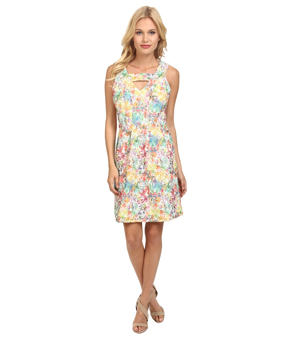 Yumi - T Bar Printed Lace Occasion Dress (Multi-Colour) Women's Dress
