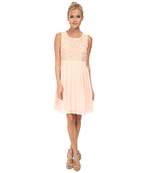 Yumi - Soft Chiffon Dress w/ 3D Beaded Flower Detailing (Blush) Women's Dress