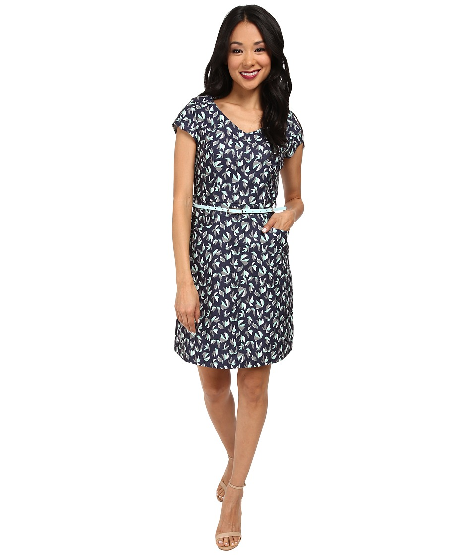 Yumi - Unique Geo Print Textured Dress (Navy) Women's Dress