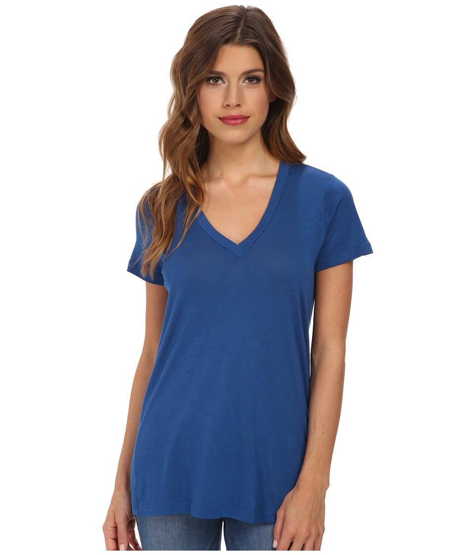 Splendid - Very Light Jersey S/S V-Neck (Azure) Women's T Shirt