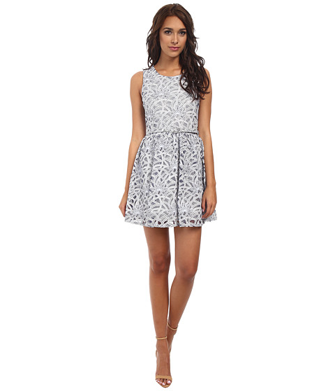 Yumi - Lace Skater Dress w/ Matching (Blue) Women's Dress