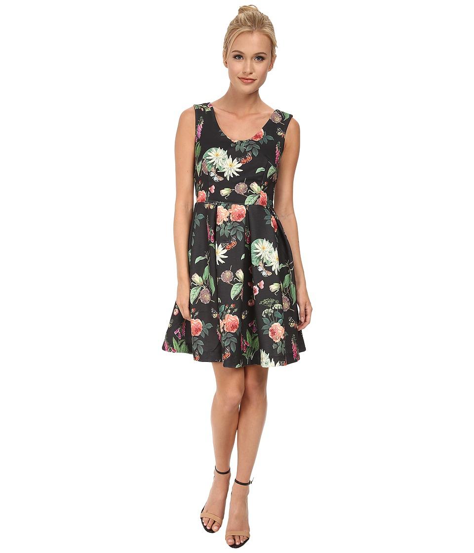 Yumi - Botanical Posies Printed Dress w/ Box Pleated Flared Skirt (Black) Women