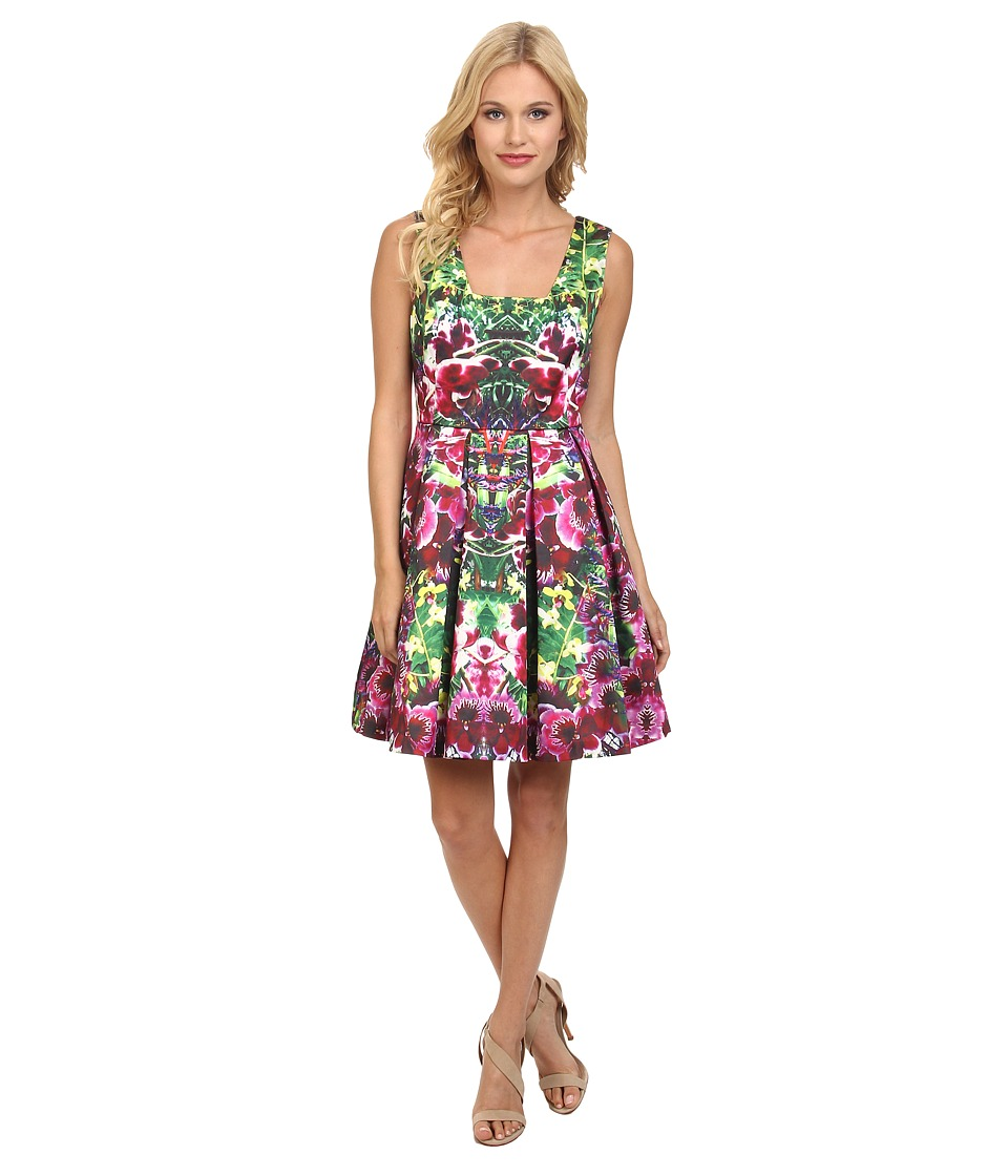 Yumi - Mirrored Jungle Photographic Print Prom Dress w/ Pleated Skirt (Multi-Colour) Women's Dress