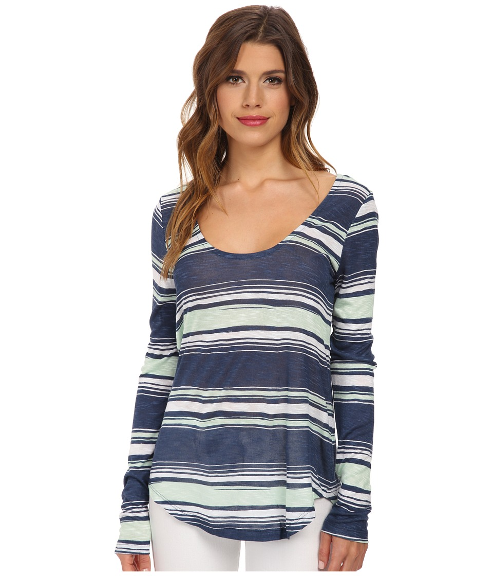 Splendid - Zanzibar Stripe Long Sleeve (Navy) Women's T Shirt