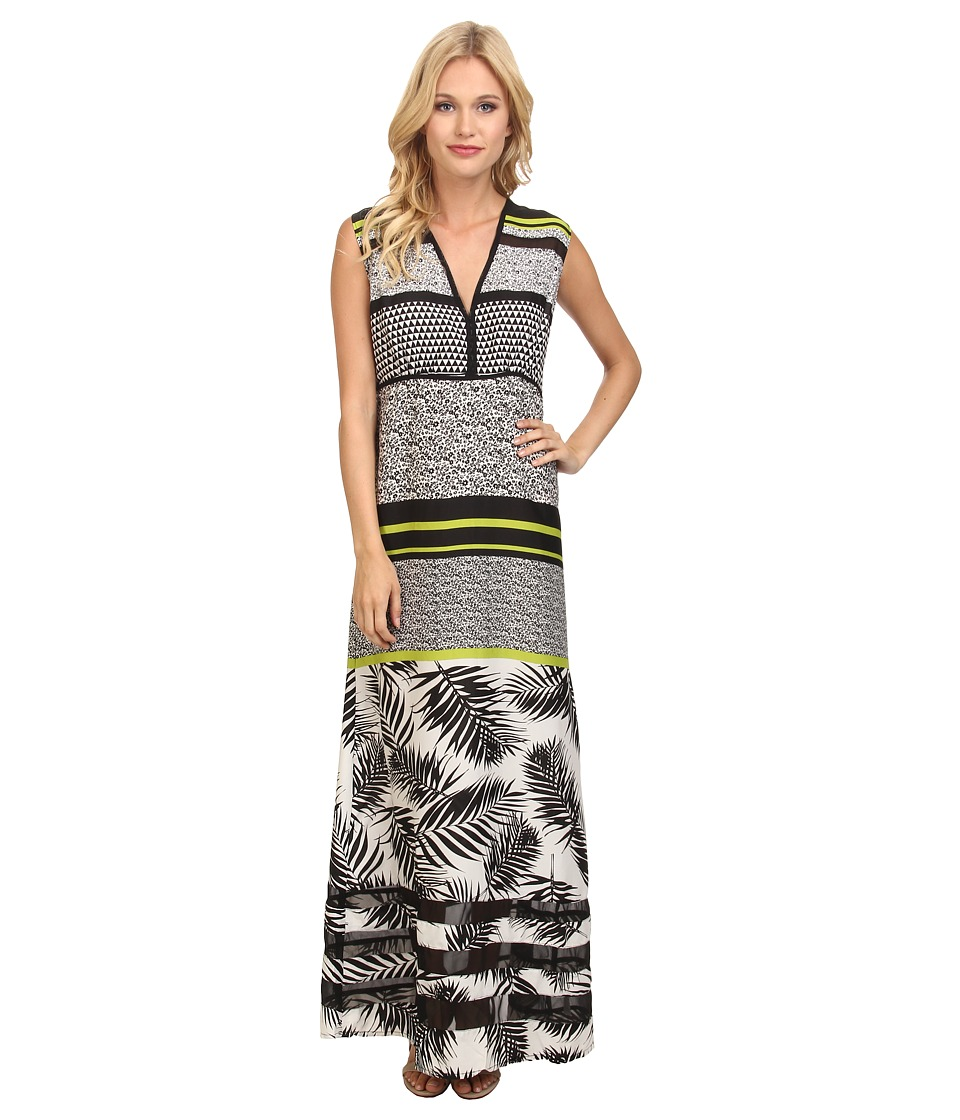 Yumi - Tropical Maxi Dress w/ Chiffon Insert Detail (Multi) Women