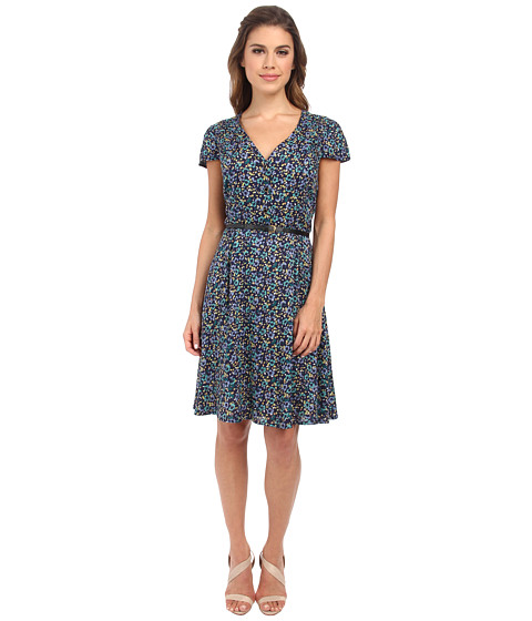 Yumi - Button Up Tea Dress In A Grunge Floral Print w/ Belt (Navy) Women's Dress