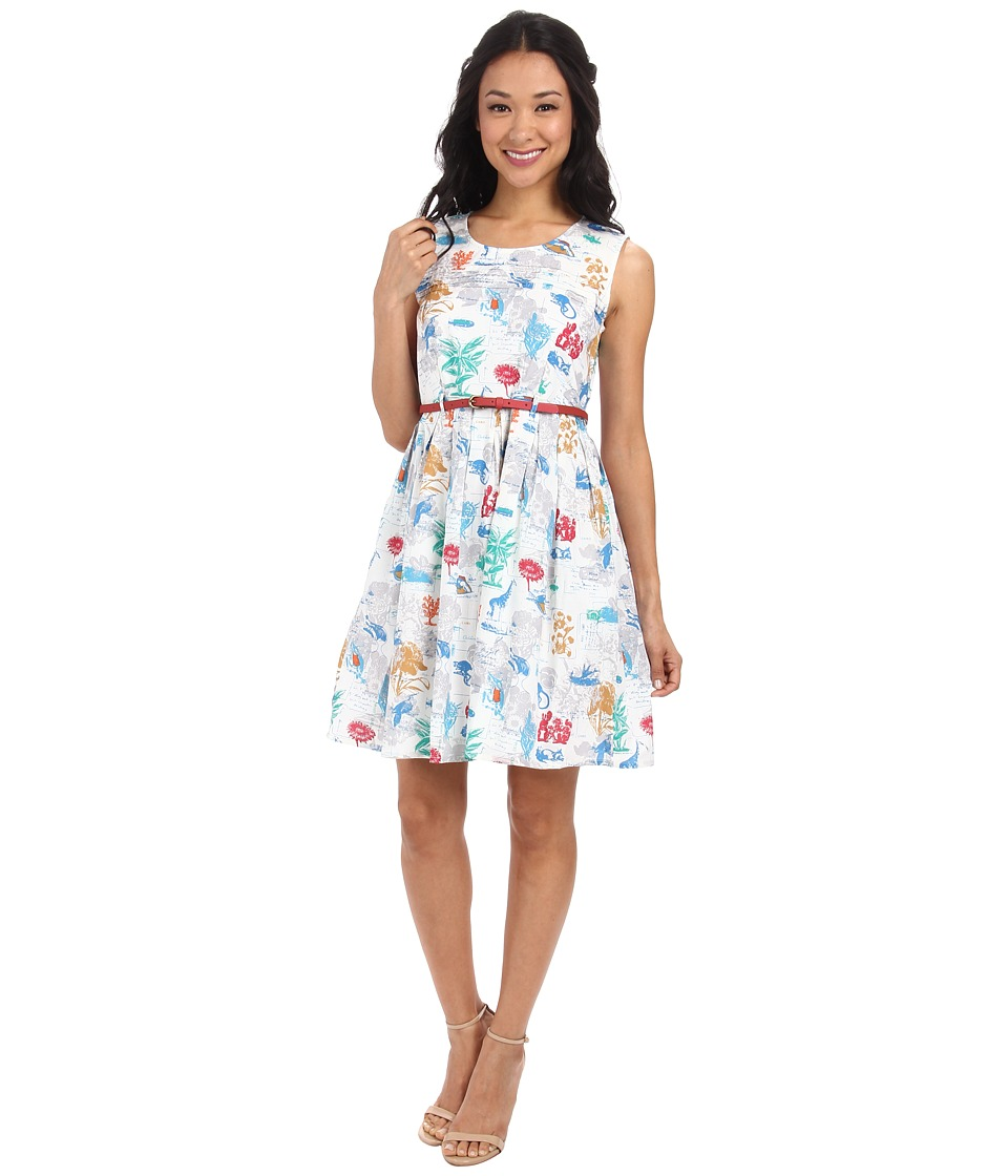 Yumi Botanical Postcard Print Sleeveless Dress w/ Belt (White) Women