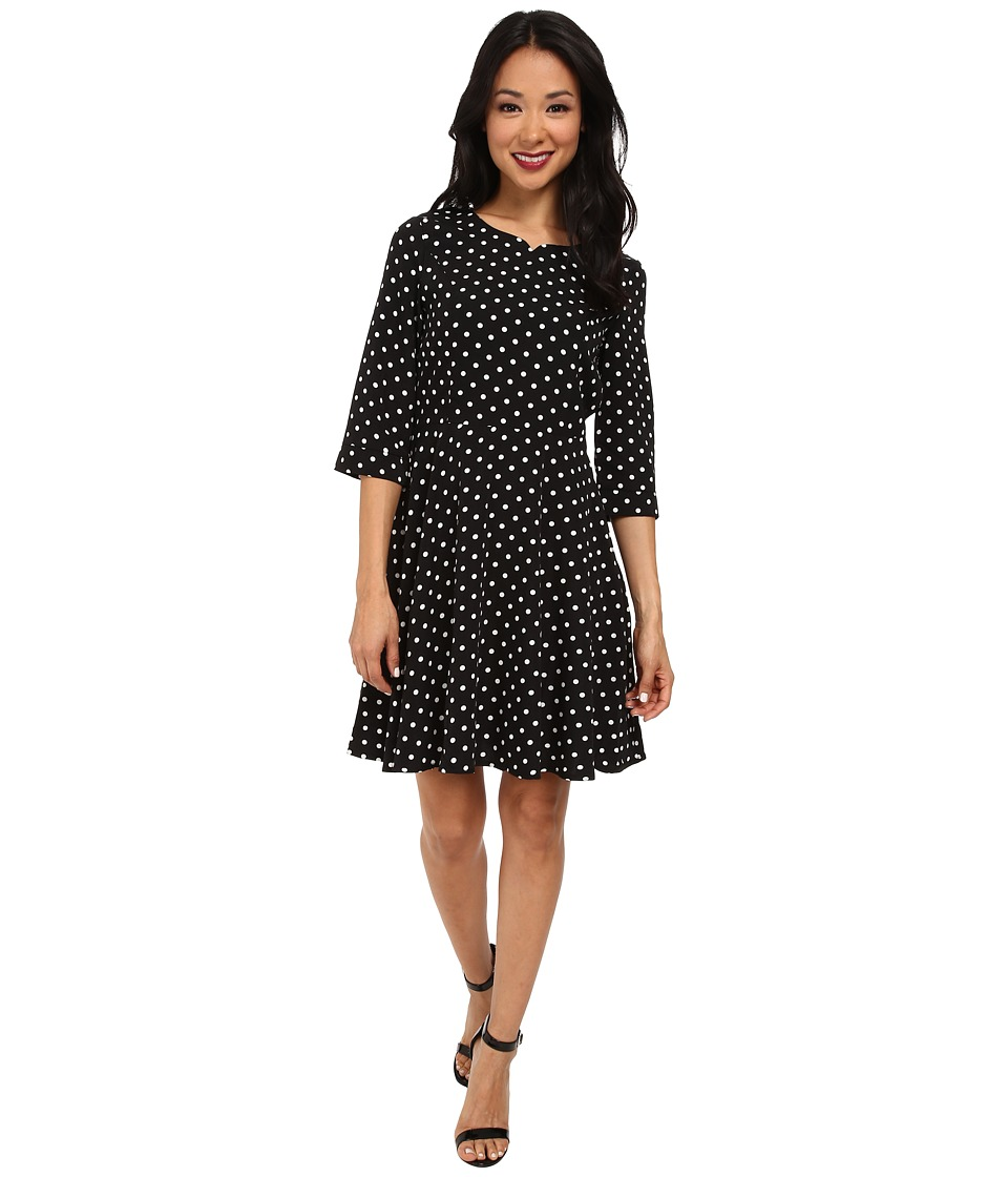 Yumi - Spot Skater Style 3/4 Sleeve Dress (Black) Women