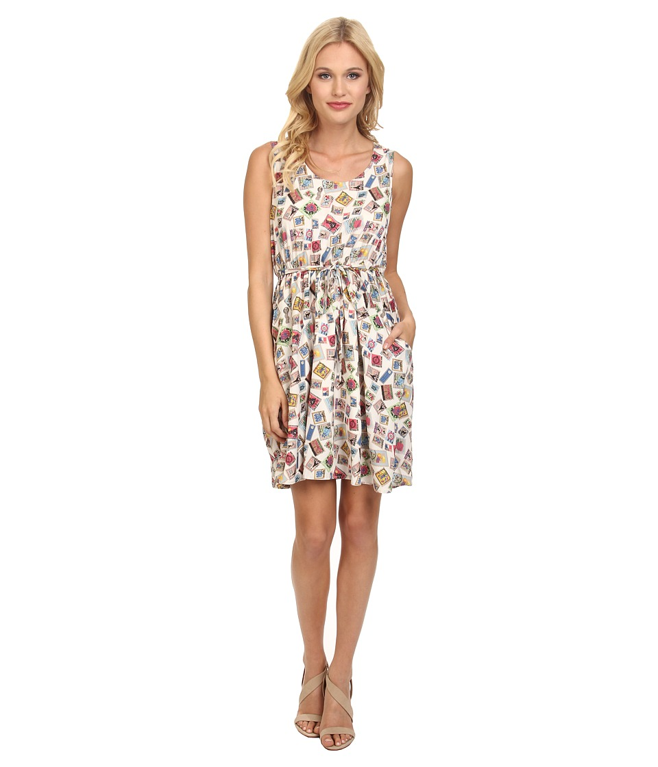 Yumi - Postcard Print Dress w/ Elastic Waist (Off White) Women's Dress