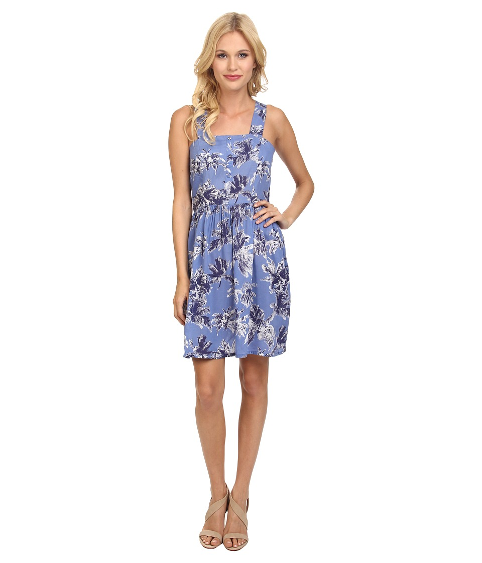 Yumi - Loose Fit Beach Dress in Soft Washed Palm Tree Print (Blue) Women's Dress