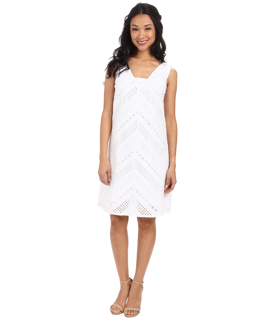 Yumi - Broderie Panel V-Neck Dress (White) Women's Dress