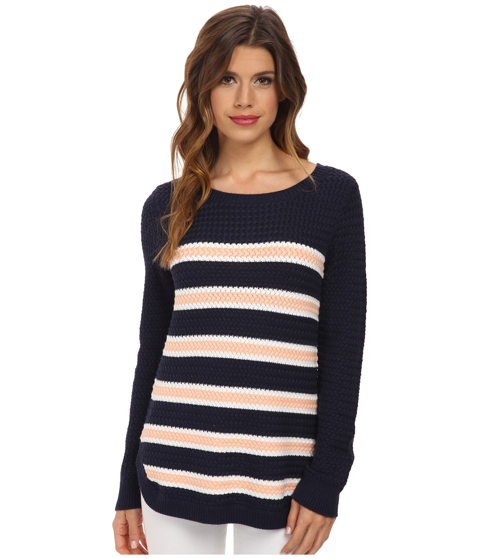 Splendid - Basket Weave Stripe Sweater (Navy Peach Cream) Women