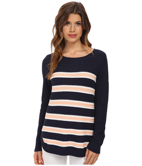 Splendid - Basket Weave Stripe Sweater (Navy Peach Cream) Women