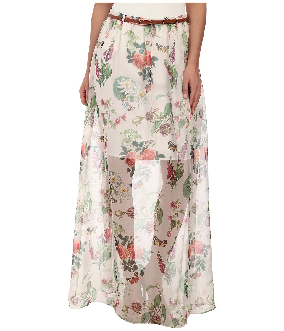 Yumi - Botanical Posies Maxi Skirt (Off White) Women's Skirt