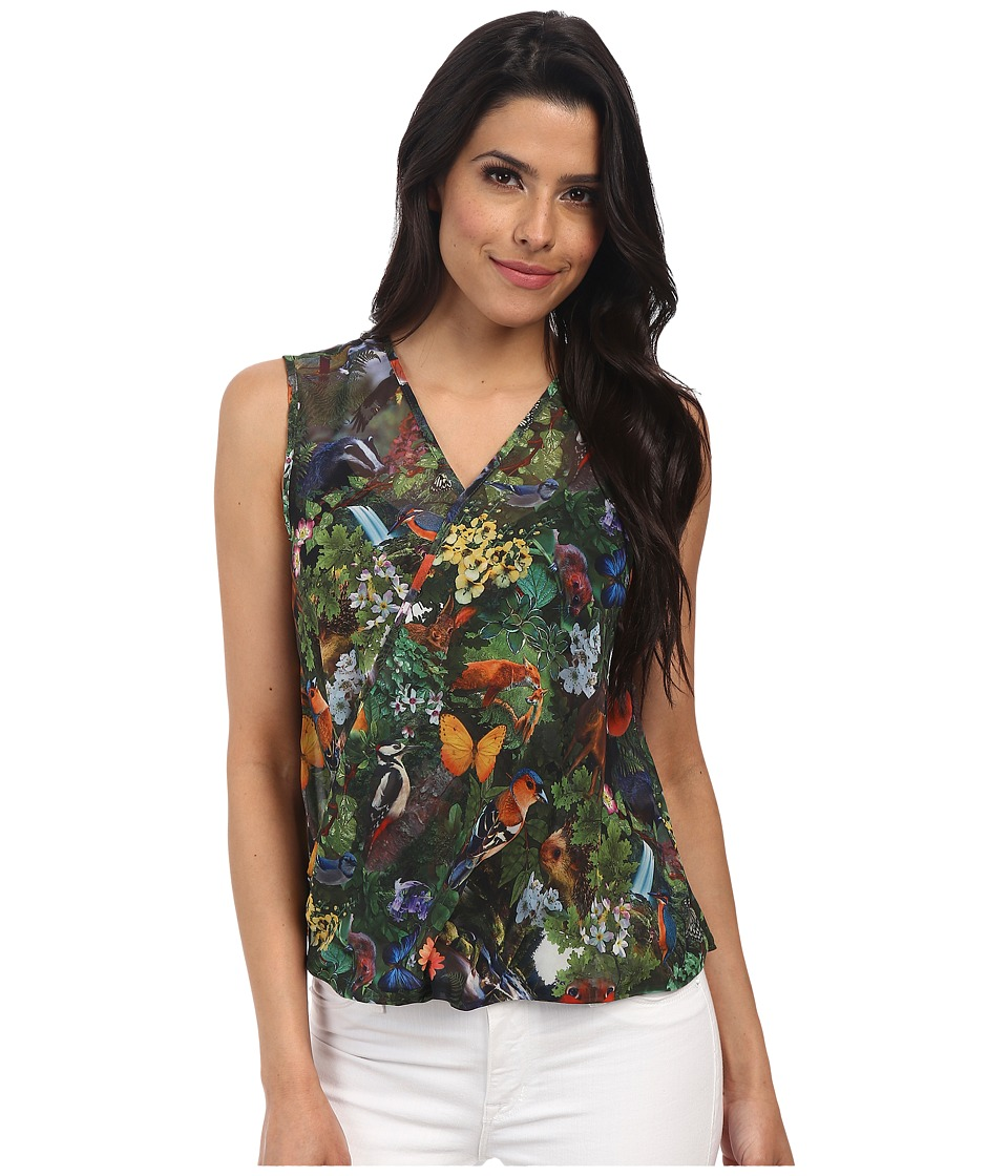 Yumi - Woodland Creatures Printed Top w/ Cross Over Drape Detail (Multi-Colour) Women's Sleeveless