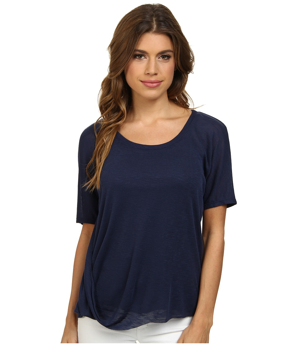 Splendid Drapey Slub Jersey Top (Navy) Women
