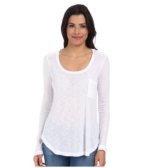 Splendid - Drapey Slub Long Sleeve Top (White) Women's T Shirt