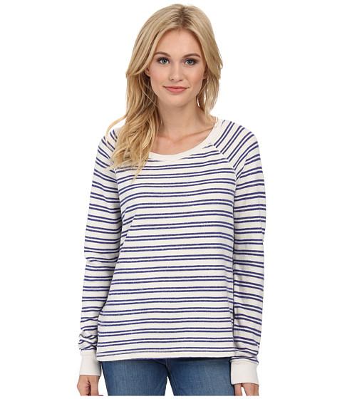 Splendid - Double Stripe Active Pullover (Cream/Azure) Women's Long Sleeve Pullover