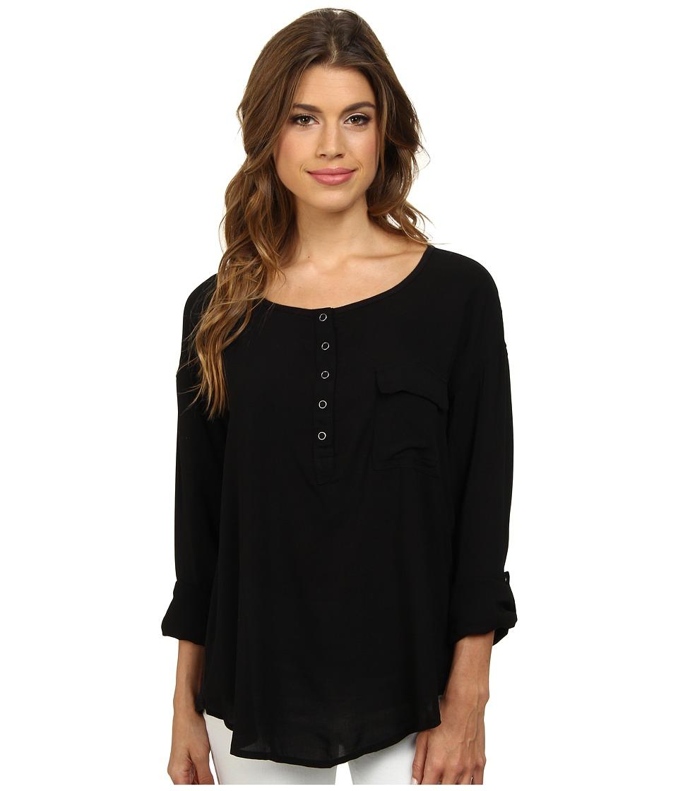 Splendid - Rayon Voile Shirt (Black) Women's Clothing