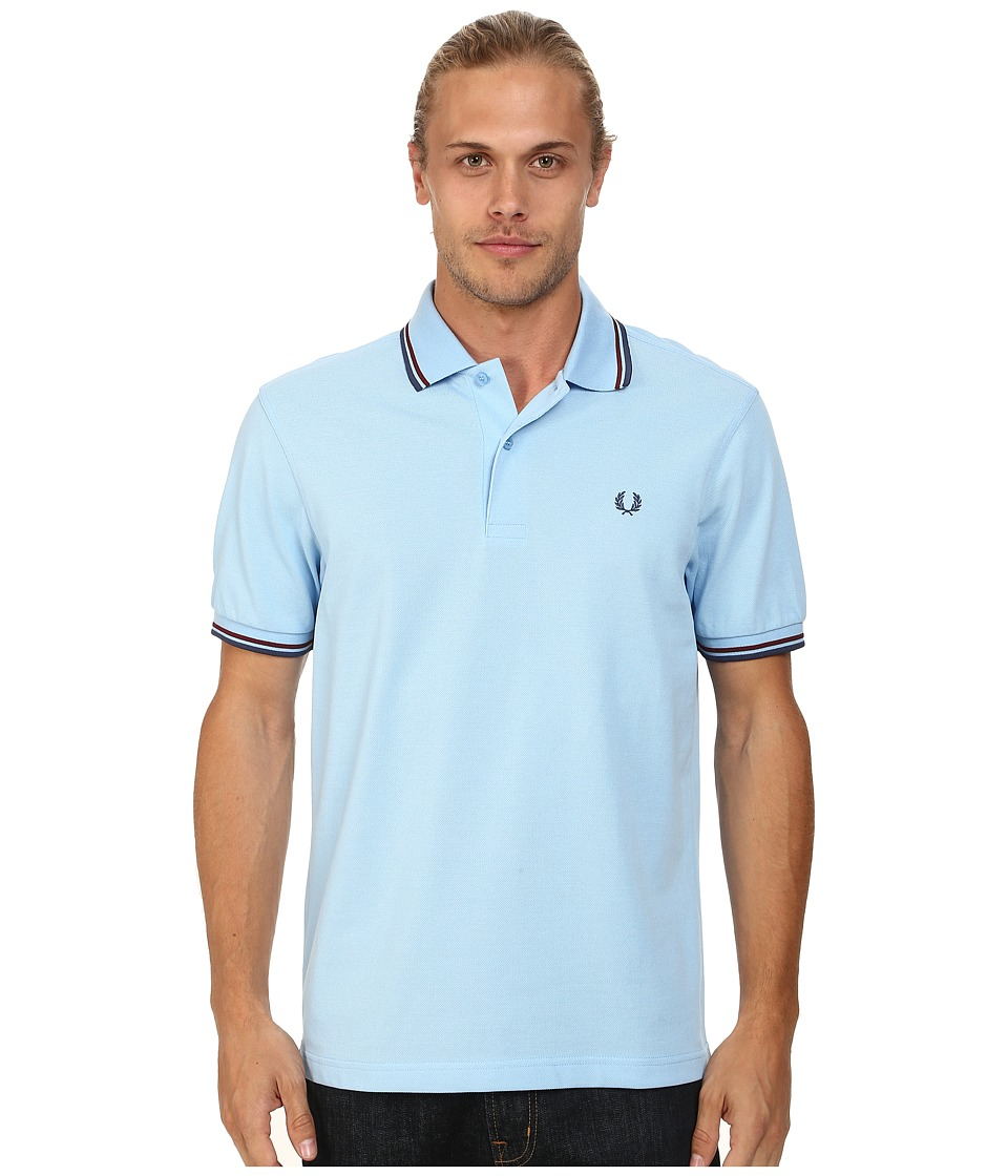 Fred Perry - Twin Tipped Fred Perry Polo (Sky Blue/Port/Indigo) Men's Short Sleeve Pullover