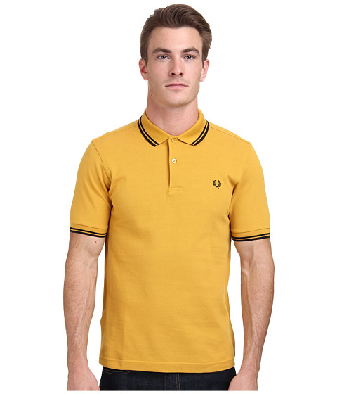 Fred Perry - Slim Fit Twin Tipped Fred Perry Polo (Mustard/Black) Men