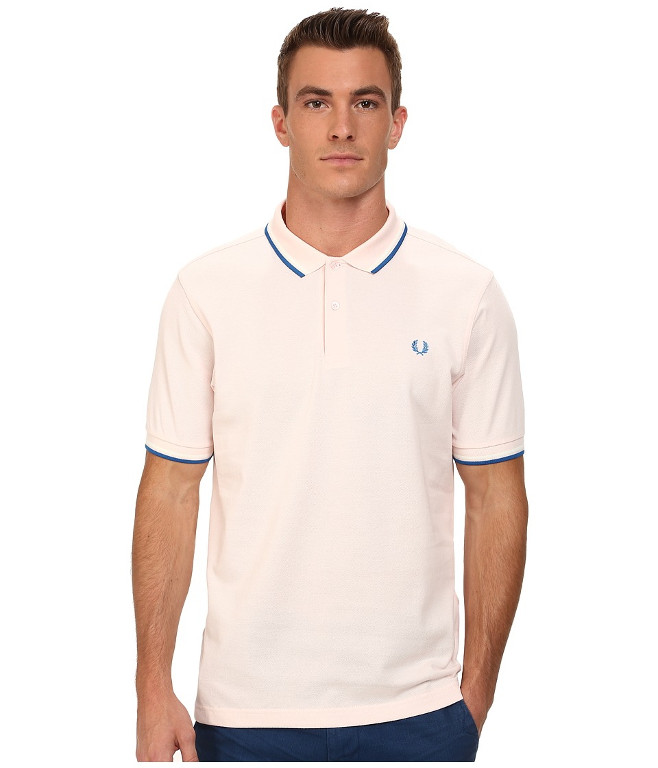 Fred Perry - Slim Fit Twin Tipped Fred Perry Polo (Soft Pink/Snow White/Imperial) Men's Short Sleeve Knit