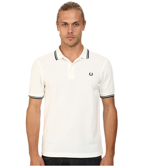 Fred Perry - Slim Fit Twin Tipped Fred Perry Polo (Snow White/Verde/French Navy) Men's Short Sleeve Knit
